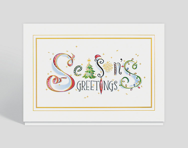 Christmas Card Greetings.Season S Greetings Whimsy Christmas Card 300109 Business Christmas Cards