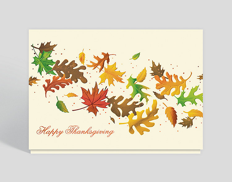 Thanksgiving Leaves Holiday Card - Thanksgiving Cards