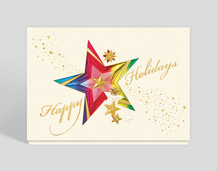 Kaleidoscope Holiday Star Christmas Card - Business Holiday Cards