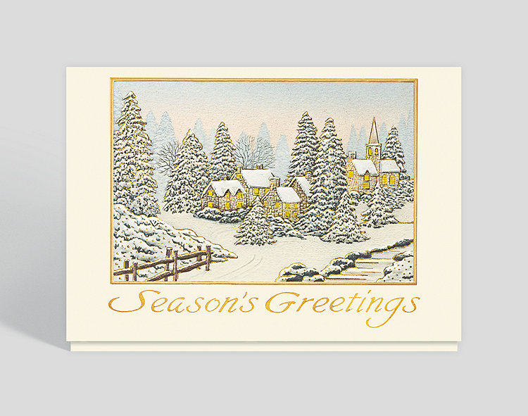 Village Glow Holiday Card - Season's Greetings