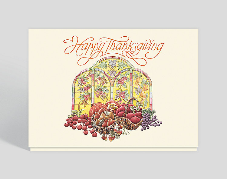 Stained Glass Bounty Thanksgiving Card - Thanksgiving Cards