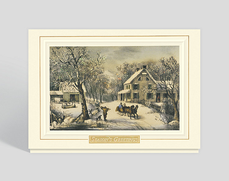 American Homestead Winter Holiday Card - Business Christmas Cards