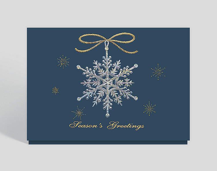 Glittering Snowflake Holiday Card - Season's Greetings