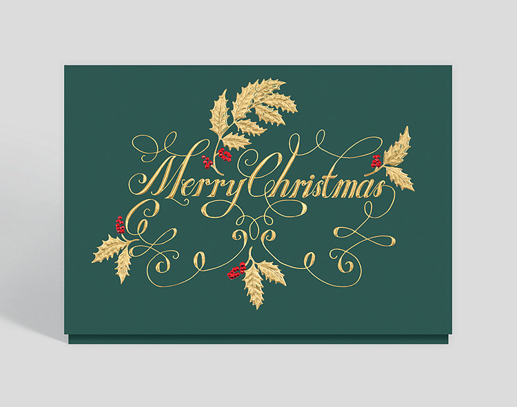 Golden Christmas Greetings Card - Business Christmas Cards