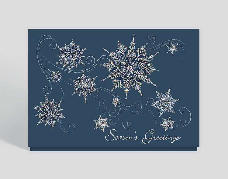 Sparkling Snowflakes Seasons Greetings Card - Business Christmas Cards