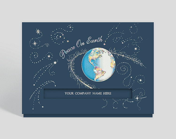 Galactic Peace on Earth Die-Cut Holiday Card - Business Christmas Cards