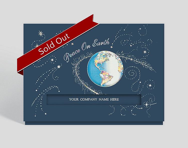 Galactic Peace on Earth Die-Cut Holiday Card