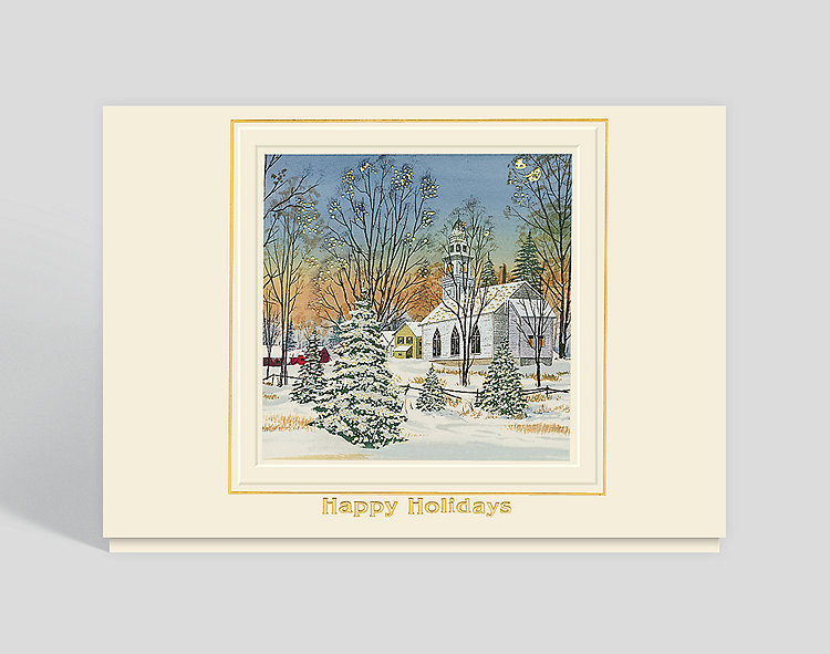 Holiday Sunset Greeting Card - Business Christmas Cards