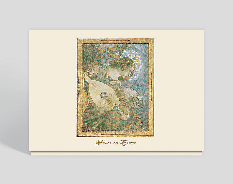 Music Making Angel with Lute Peace Card - Religious Christmas Cards
