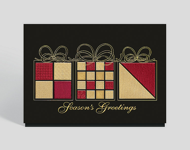 Elegant Wrappings Seasons Greetings Card - Business Christmas Cards