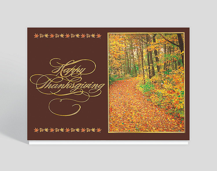Shimmering Autumn Splendor Holiday Card - Thanksgiving Cards