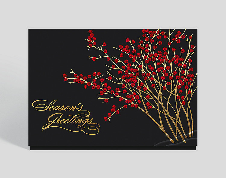 Season's Greetings Red Berries Card - Season's Greetings
