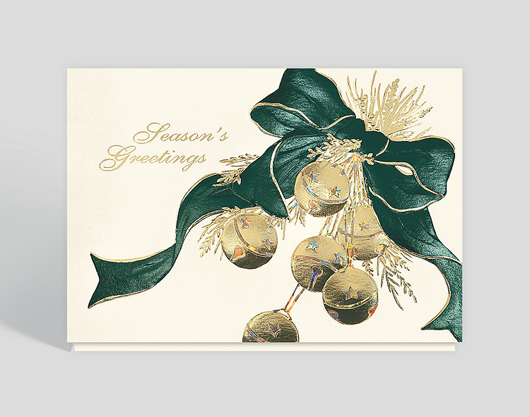 Golden Sleigh Bells Holiday Card - Business Christmas Cards