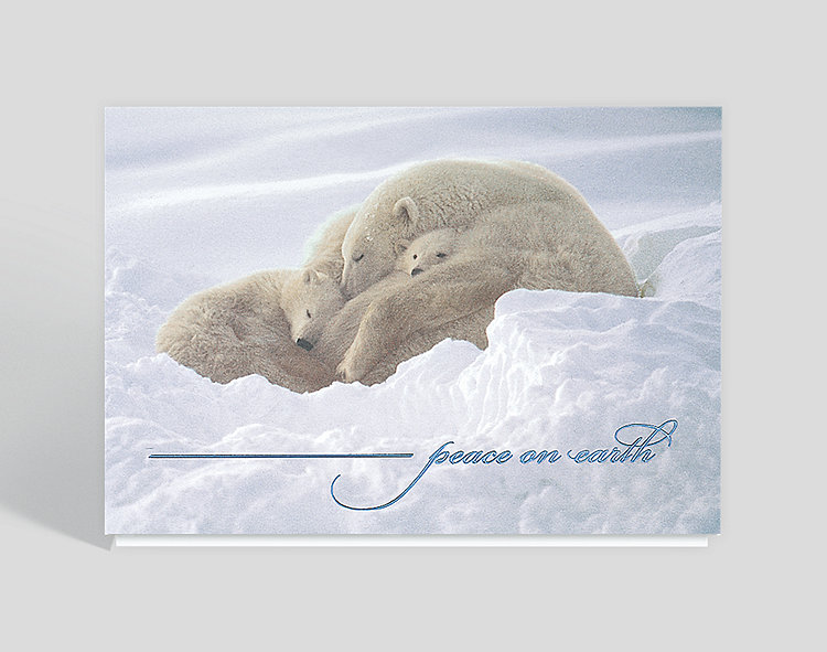 Peace on Earth Holiday Greeting Card - Business Christmas Cards