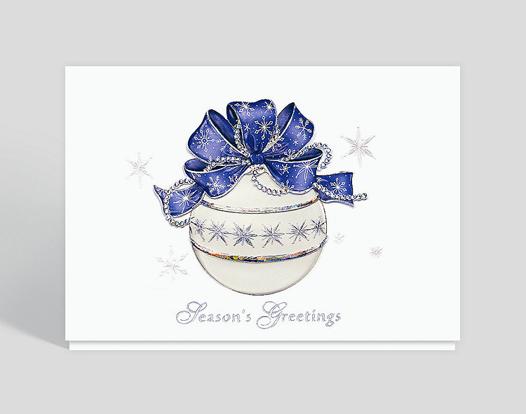 Seasons Greetings Snowfrost Ornament Card - Business Christmas Cards
