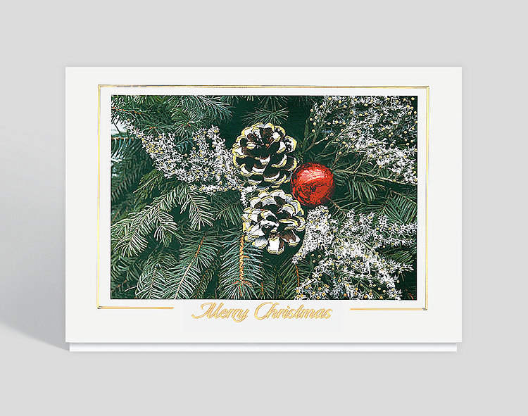 Frosted Pinecones Merry Christmas Card - Business Christmas Cards