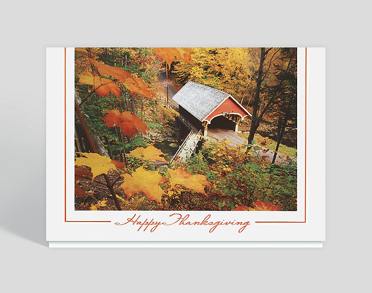 Covered Bridge Thanksgiving Card - Thanksgiving Cards