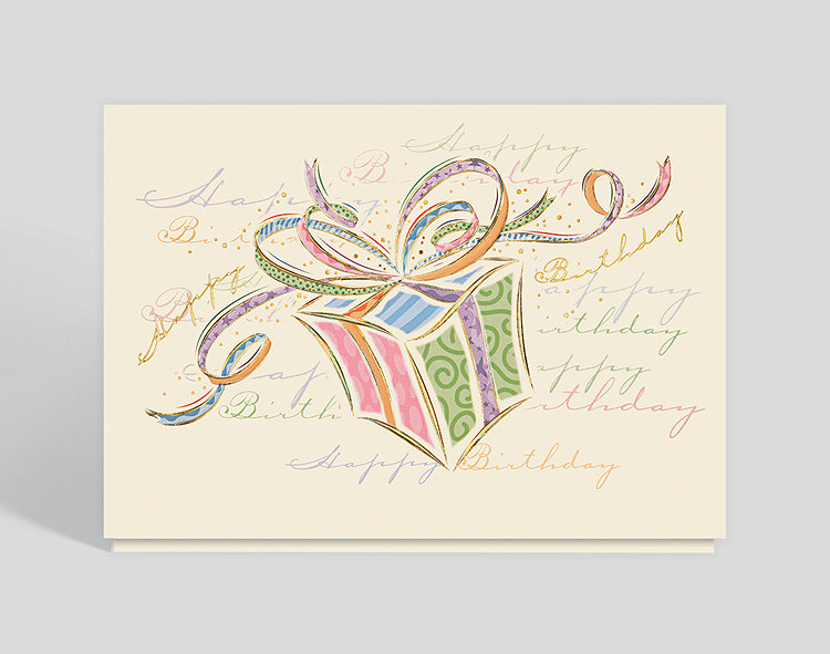 Whimsical Birthday Box Greeting Card Click To View Larger