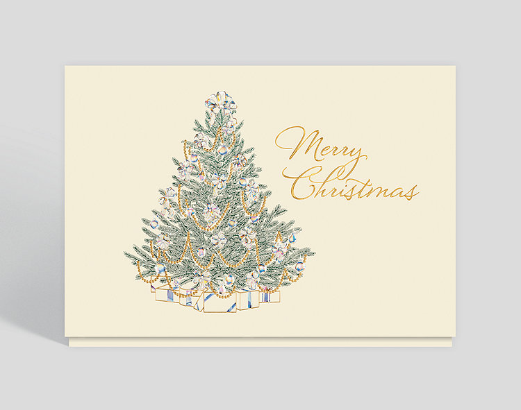 Merry Christmas Card.Merry Christmas Elegant Tree Holiday Card 300497 Business Christmas Cards