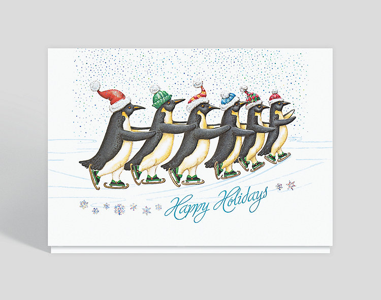 Penguins on Ice Holiday Card - Business Holiday Cards