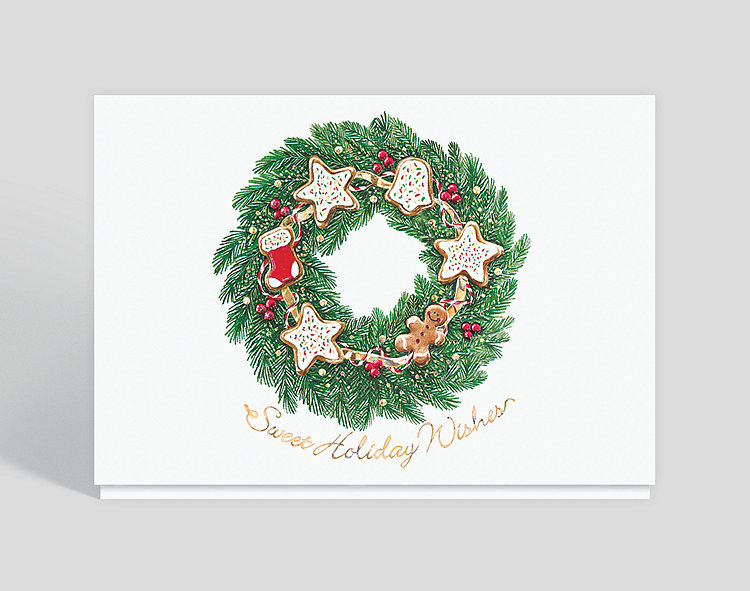 Holiday Cookie Wreath Card - Business Christmas Cards