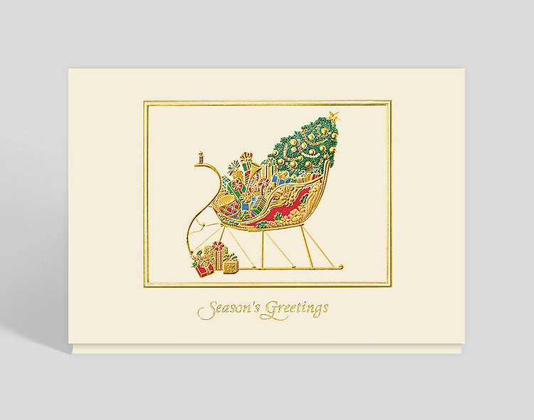 Golden Sleigh Greetings Card - Business Christmas Cards