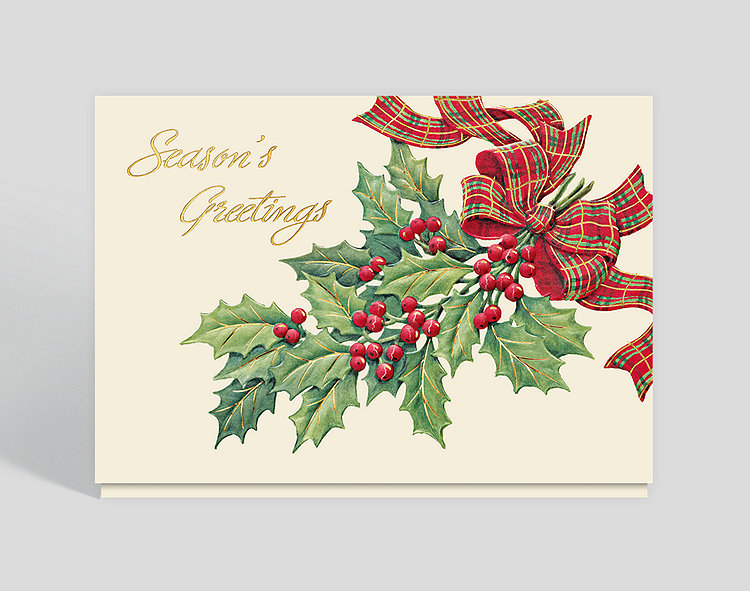 Holly Berry Greeting Card - Season's Greetings