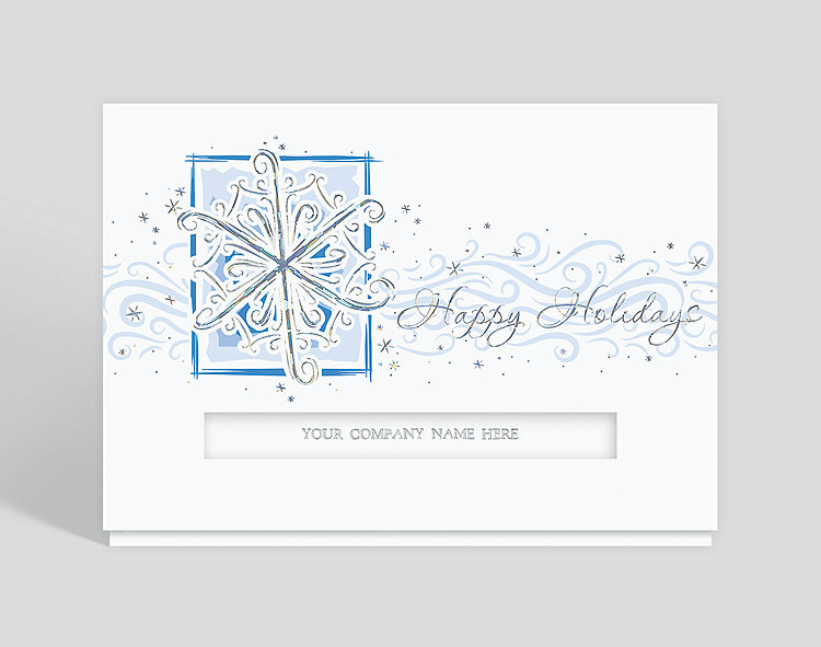 Snowflurry Greetings Die-Cut Holiday Card - Business Christmas Cards