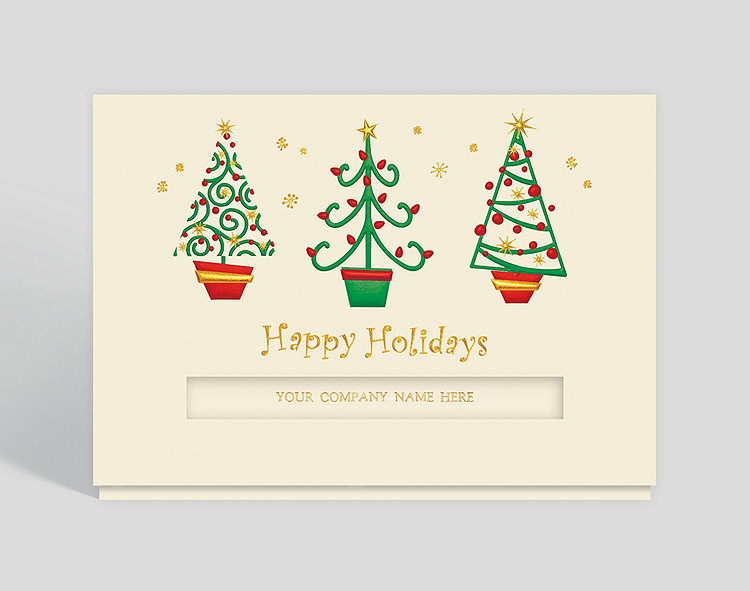 Business Christmas Cards.Happy Holiday Trees Christmas Card 300541 Business Christmas Cards