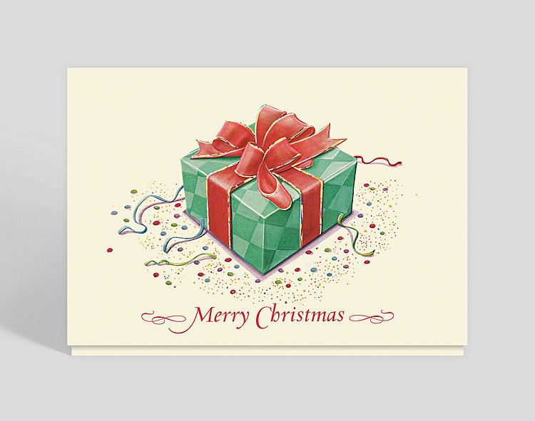 Merry Christmas Gift Box Card - Business Christmas Cards