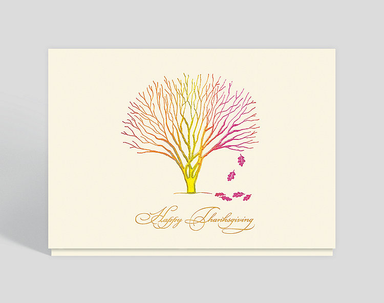 Little Tree of Thanks Holiday Card - Thanksgiving Cards