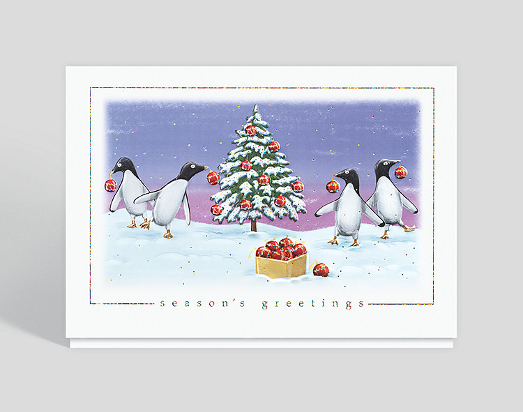 Penguin Party Holiday Card - Business Christmas Cards