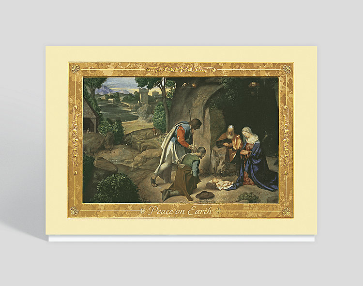 Giorgione's Adoration of the Shepherds Card - Religious Christmas Cards