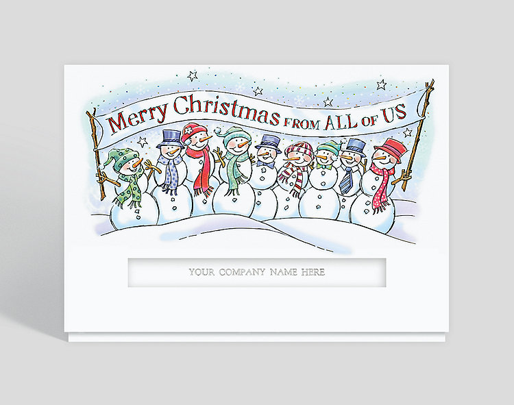 Frosty Merry Christmas Die-Cut Holiday Card - Business Christmas Cards