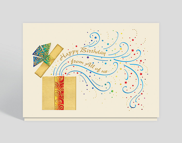 Business birthday greeting cards with present themes birthday card m4hsunfo