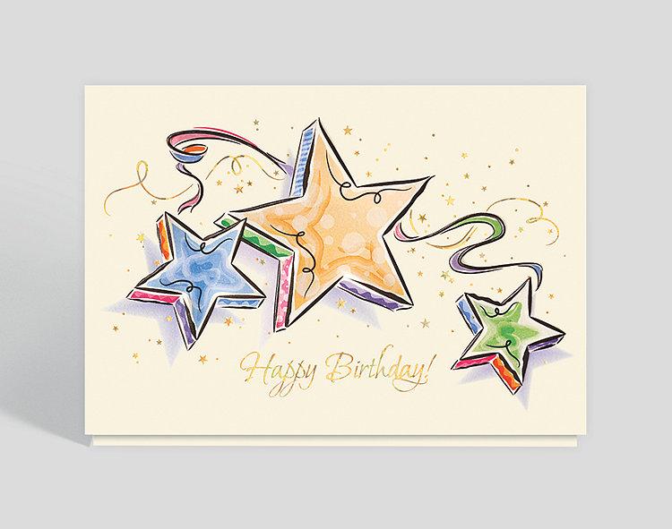 Watercolor Birthday Stars Card