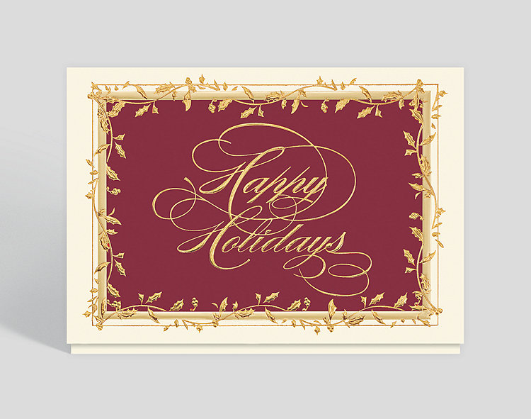 Golden Holly Greetings Holiday Card - Business Christmas Cards