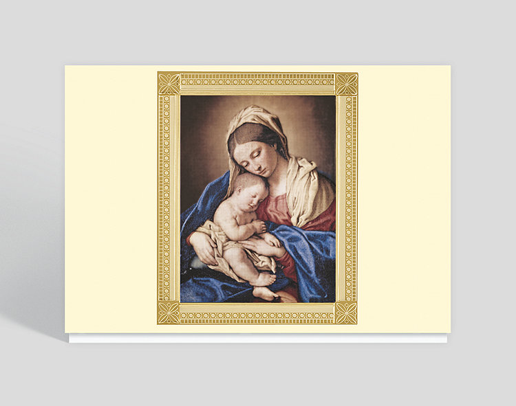 Madonna & Child Religious Christmas Card - Religious Christmas Cards