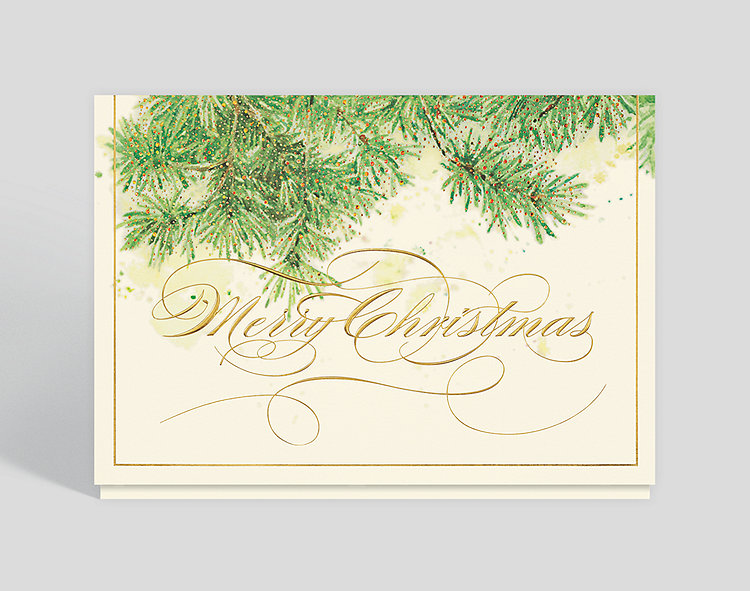 Glistening Evergreen Branches Christmas Card - Business Christmas Cards