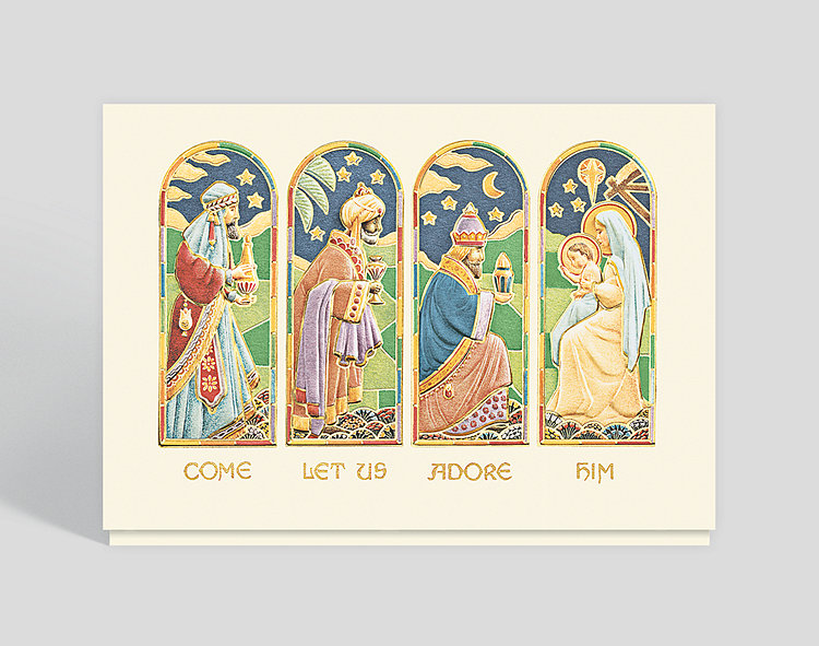 Stained Glass Nativity Holiday Card - Business Christmas Cards