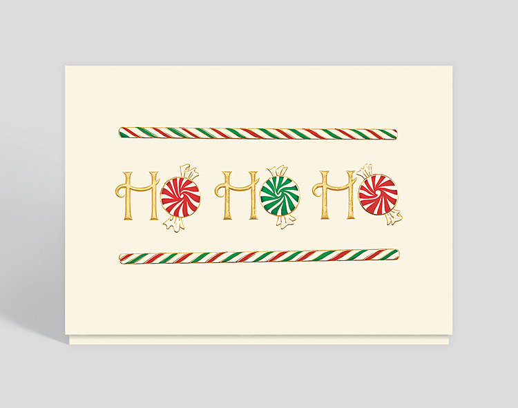 Candy Cane Greetings Card - Business Christmas Cards