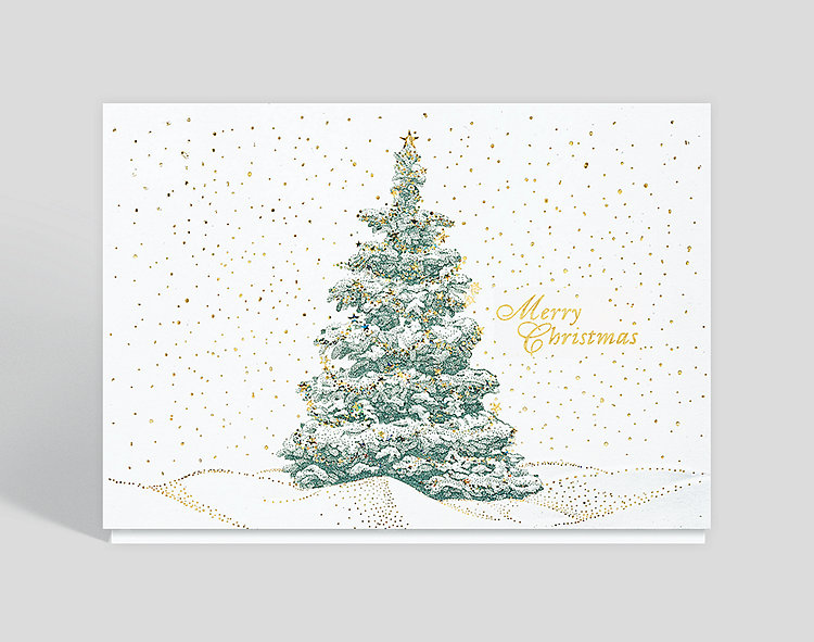 Merry Christmas Sparkling Evergreen Card - Business Christmas Cards