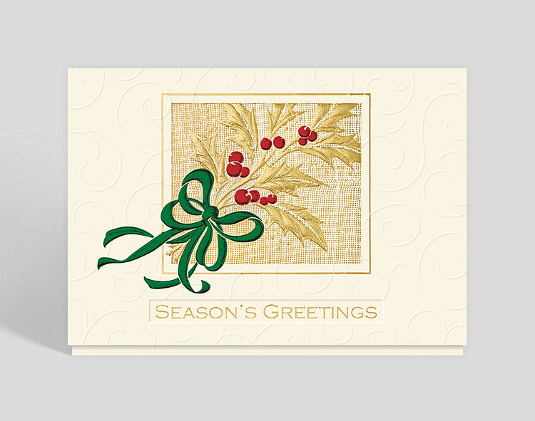 Gilded Holly Season's Greetings Card - Season's Greetings