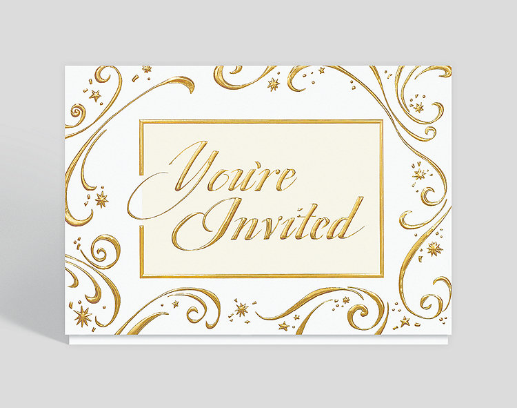 Golden Invitation Holiday Card - Holiday Invitation