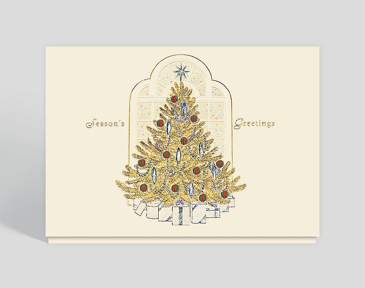 Seasons Greetings Golden Christmas Tree - Business Christmas Cards