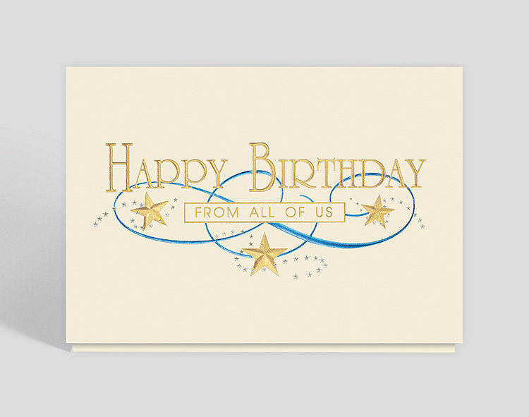 Gold star birthday card 300668 business christmas cards gold star birthday card click to view larger front open m4hsunfo