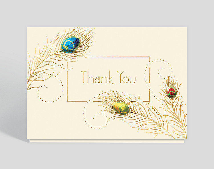 Peacock thank you card 300677 business christmas cards peacock thank you card click to view larger reheart Image collections