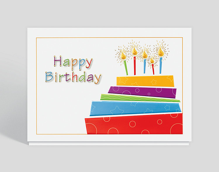 Dazzling Cake and Candles Birthday Card