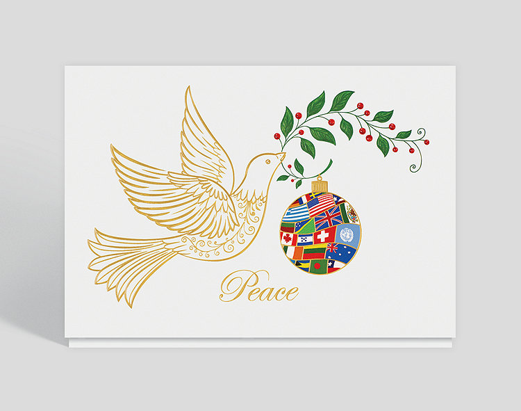 Dove with olive branch holiday card 300696 business christmas cards click to view larger reheart Images