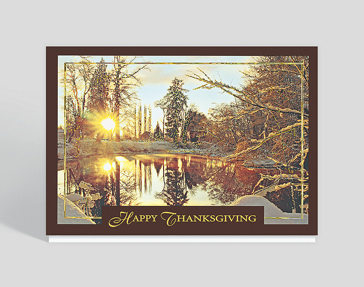 Thanksgiving Golden Snowscape Holiday Card - Thanksgiving Cards